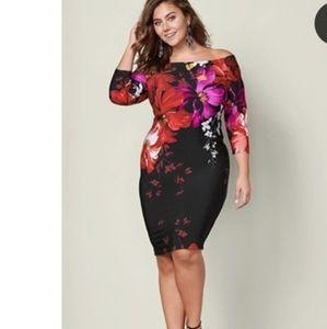 VENUS Off Shoulder Plus Black Dress